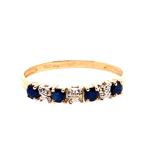 Estate 10kt Yellow Gold Sapphire And Clear Stones Band