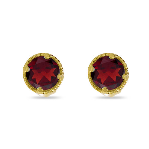14kt Yellow Gold Garnet Earrings