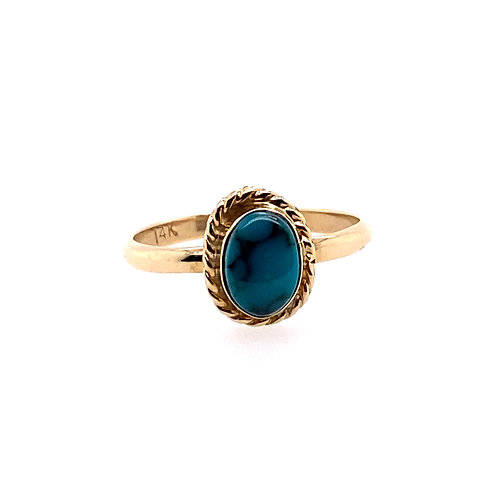 Estate 14kt Yellow Gold Oval Turquoise Ring