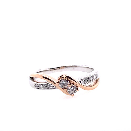 14kt Two Toned Gold Diamond Two Stone Ring