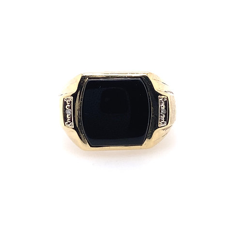 Estate 10kt Yellow Gold Black Onyx Gents Ring