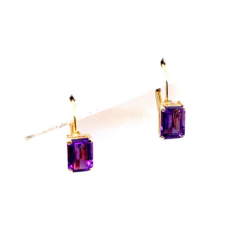 Estate 14kt Yellow Gold Amethyst Lever Back Earrings