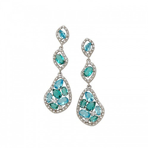 Sterling Silver Multiple Color Blue/Green Glass With Cubic Zirconia Earrings