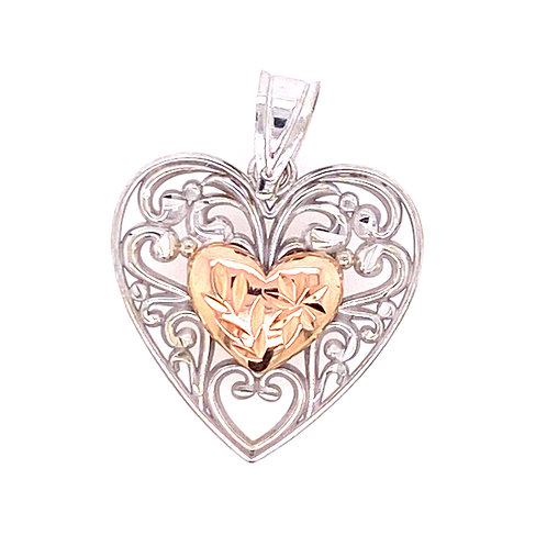 Estate 14kt Two Toned Gold Filigree Heart Charm