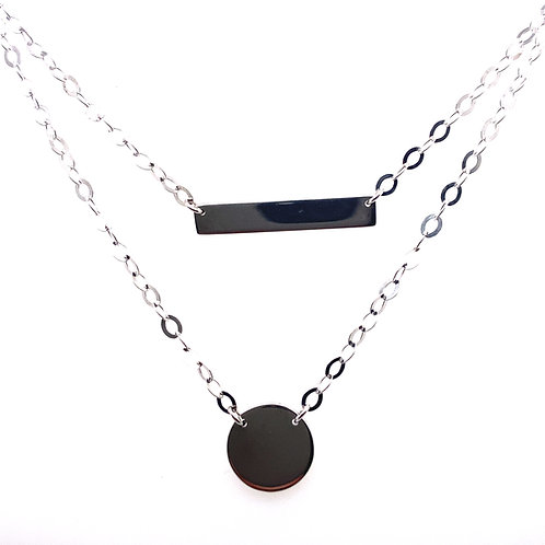 Sterling Silver Bar Circle Necklace