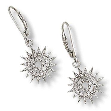 Sterling Silver Cubic Zirconia Small Starburst Earrings