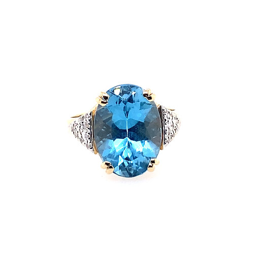 Estate 14kt Yellow Gold Blue Topaz And Diamond Ring