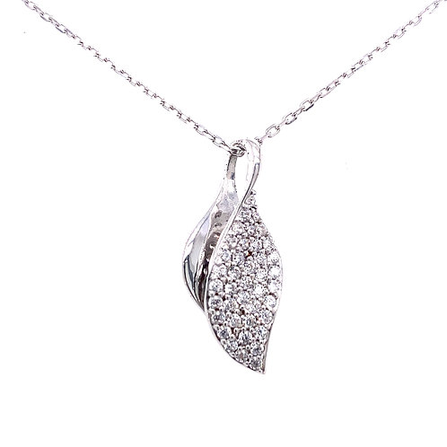 Sterling Silver Cubic Zirconia Double Leaf Pendant