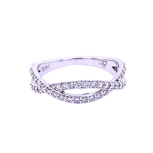 14kt White Gold Diamond Infinity Twist Band