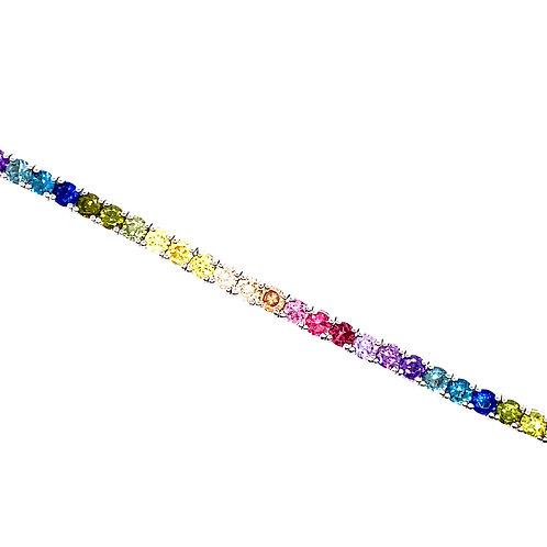 Sterling Silver Cubic Zirconia Rainbow Tennis Style Bracelet