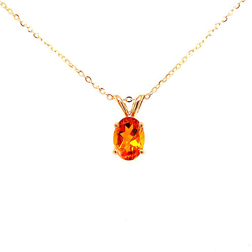 14kt Yellow Gold Oval Citrine Solitaire Pendant