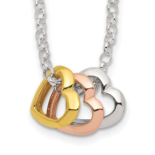 Sterling Silver Tri Color Heart Necklace