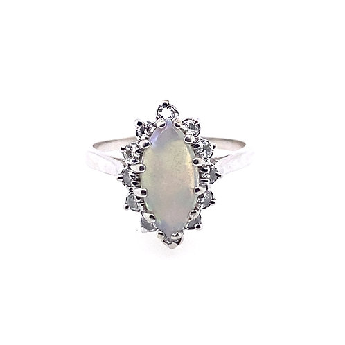 Estate 14kt White Gold Marquise Opal And Diamond Lady's Ring