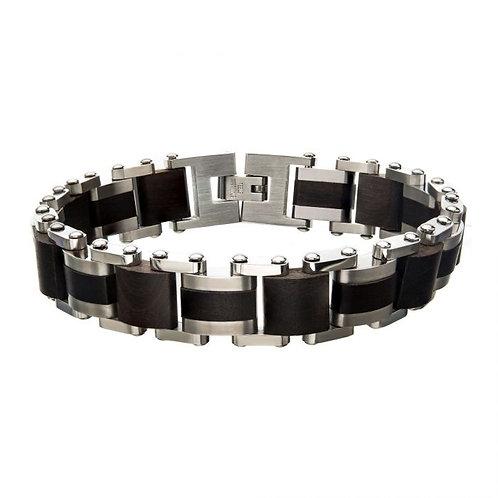 Stainless Steel Wood Grain Link Bracelet