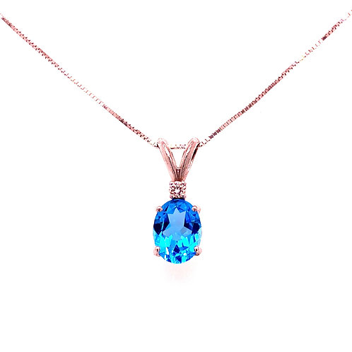 14kt White Gold Oval Swiss Blue Topaz And Diamond Pendant