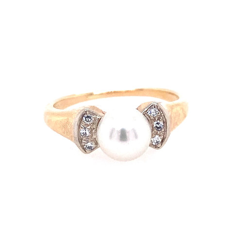 Estate 14kt Yellow Gold Cultured Akoya Pearl And Diamond Ring
