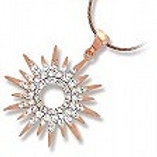 Sterling Silver Rose Gold Plated Cubic Zirconia Starburst Pendant