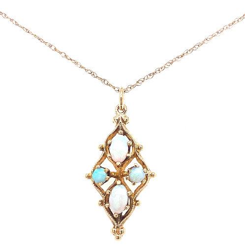 Estate 14kt Yellow Gold Opals Pendant