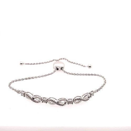 Sterling Silver Diamond Infinity Bolo Bracelet