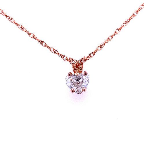 14kt Rose Gold Heart Shaped Diamond Pendant