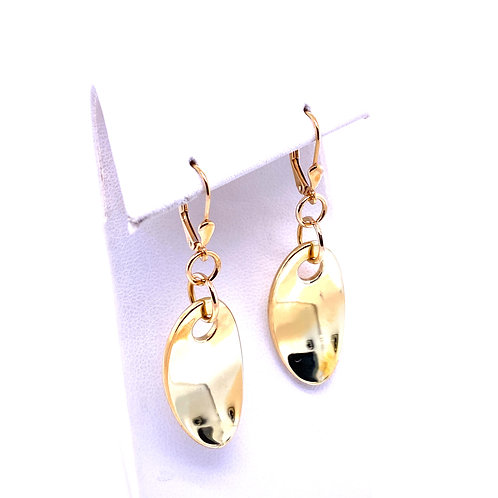 Estate 14kt Yellow Gold Oval Disc Dangle Earrings