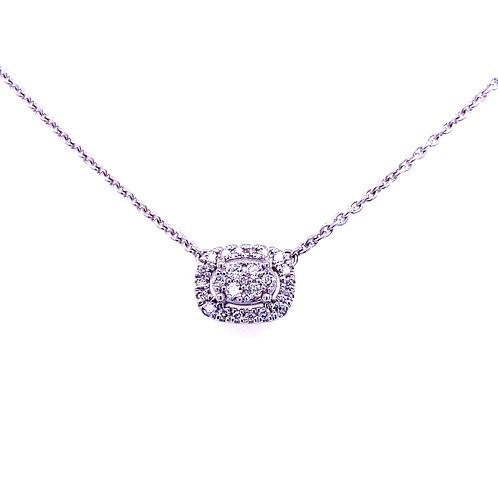 10kt White Gold Oval Diamond Pendant