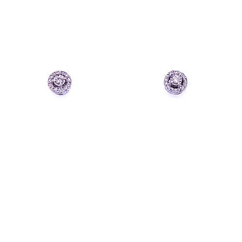 14kt White Gold Diamond Halo Earrings