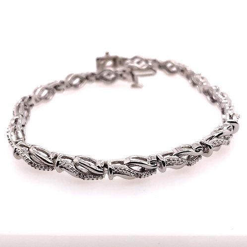 Sterling Silver Diamond Fancy Link Bracelet