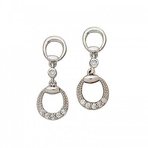 Sterling Silver Cubic Zirconia Circle Dangle Earrings