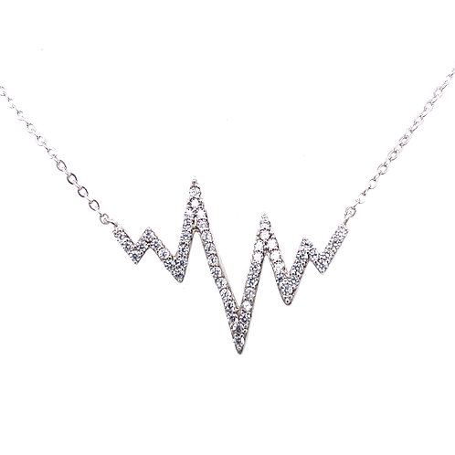 Sterling Silver Heart Beat Style Cubic Zirconia Necklace