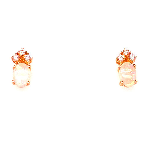 14kt Yellow Gold Opal And Diamond Earrings