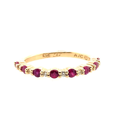 14kt Yellow Gold Ruby And Diamond Band