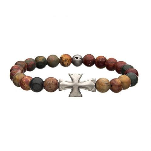 Stainless Steel Cross/Jasper Bead Bracelet