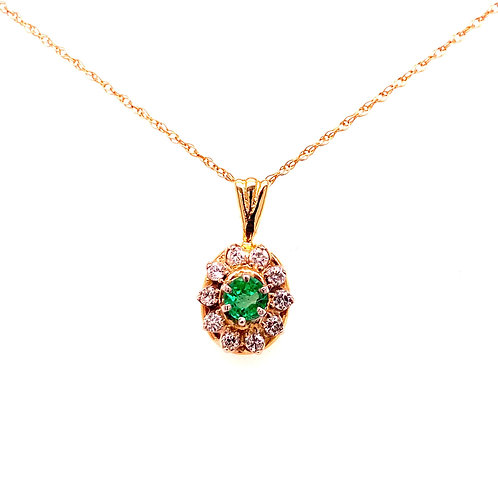 Estate 14kt Yellow Gold Emerald And Diamond Pendant