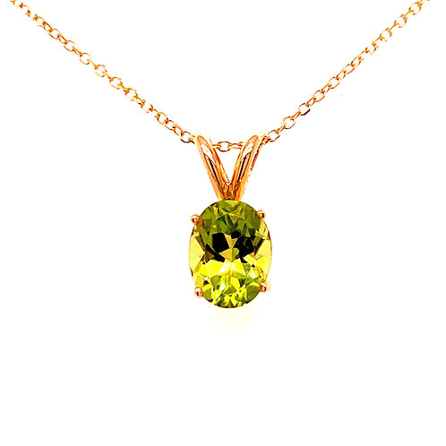 14kt Yellow Gold Oval Peridot Pendant