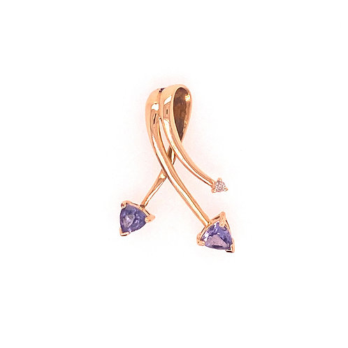Estate 14kt Yellow Gold Tanzanite And Diamond Slide