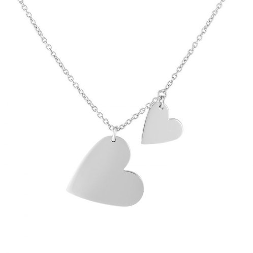 Sterling Silver Double Heart Disc Necklace