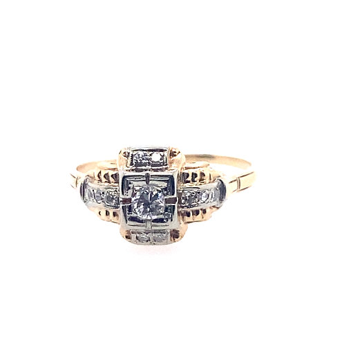 Estate 14kt Two Toned Gold Diamond Lady's Ring