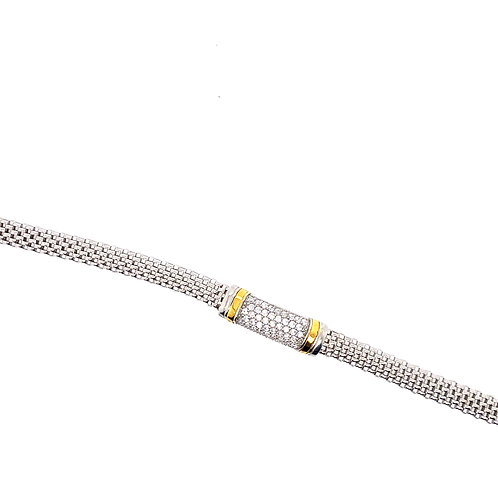 Sterling Silver Cubic Zirconia Pave Center Section Mesh Style Bracelet