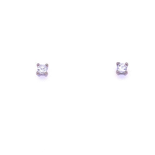 14kt White Gold Princess Cut Diamond Stud Earrings