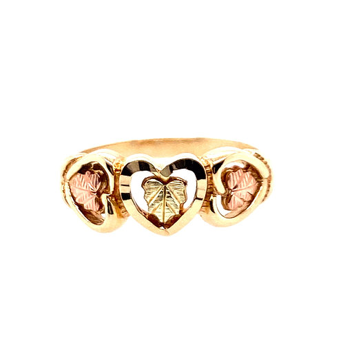 Estate 10kt Two Toned Gold Hearts Ring