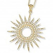 Sterling Silver Gold Plated Cubic Zirconia Large Starburst Pendant