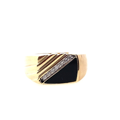 Estate 10kt Yellow Gold Black Onyx And Diamonds Gents Rings