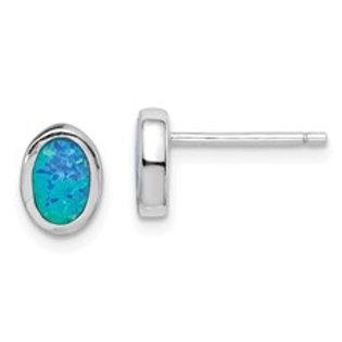Sterling Silver Oval Imitation Opal Post Earrings