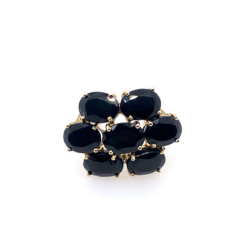 Estate 10kt Yellow Gold Black Onyx Cluster Ring