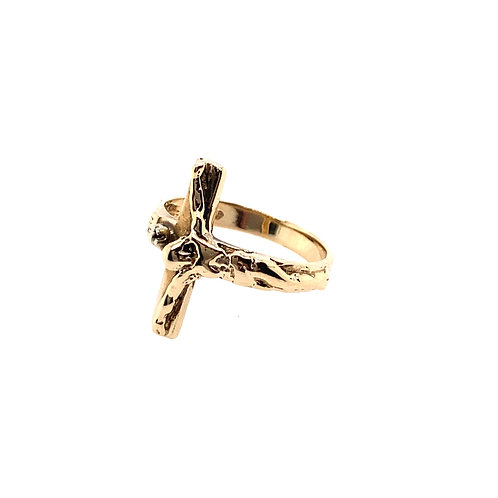 Estate 14kt Yellow Gold Crucifix Lady's Ring