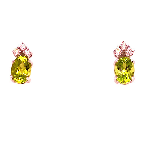 14kt White Gold Checkerboard Peridot And Diamond Earrings