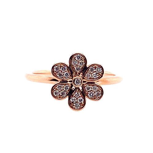10kt Rose Gold Diamond Flower Ring