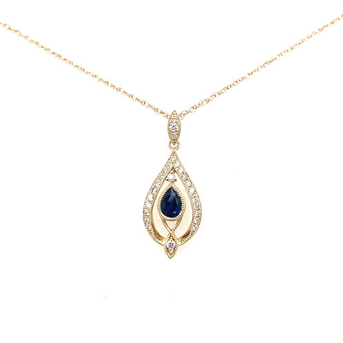 14kt Yellow Gold Pear Shaped Blue Sapphire And Diamonds Pendant
