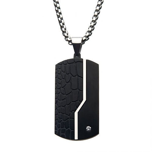 Stainless Steel Black Dog Tag With Cubic Zirconia